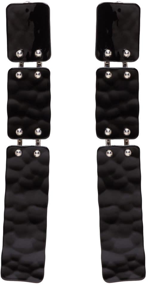 Proenza Schouler Black Long Hammered Earrings