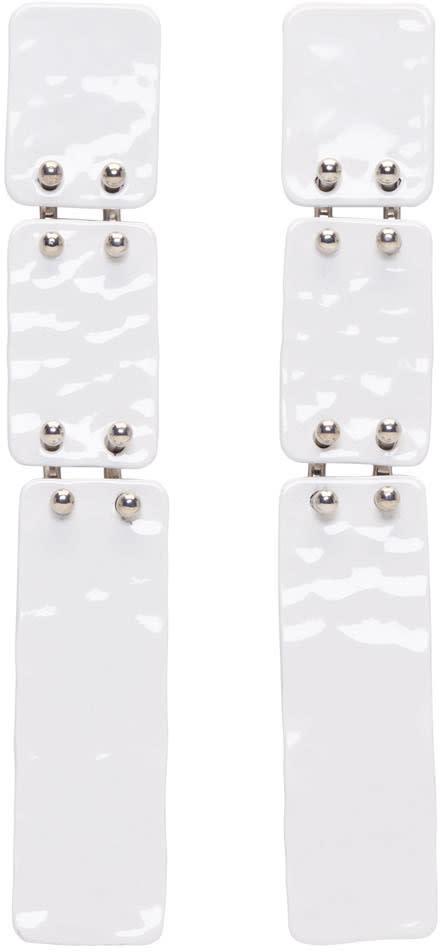 Proenza Schouler White Long Hammered Earrings