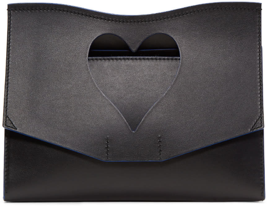 Proenza Schouler Black Medium Heart Cut-out Curl Clutch