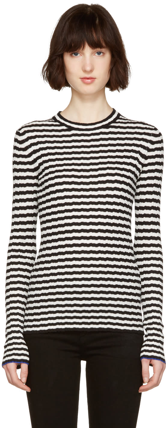 Proenza Schouler Black and White Striped Pullover