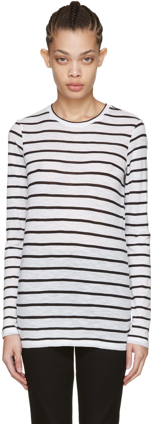 Proenza Schouler White Long Sleeve Pinstripe T-shirt