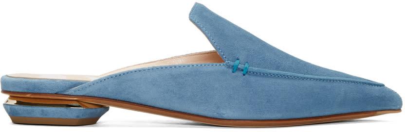 Nicholas Kirkwood Blue Suede Beya Slip-on Loafers