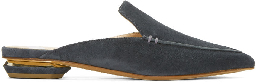 Nicholas Kirkwood Ssense Exclusive Grey Suede Beya Slip-on Loafers