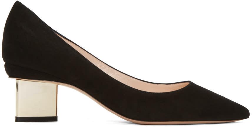 Nicholas Kirkwood Black Suede Prism Heels