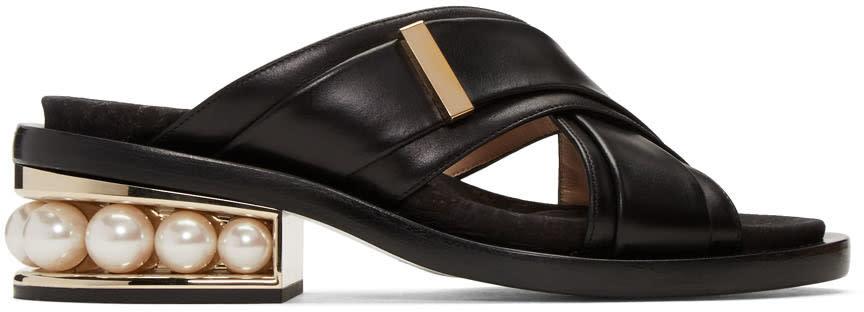 Nicholas Kirkwood Black Casati Pearl Crossover Sandals