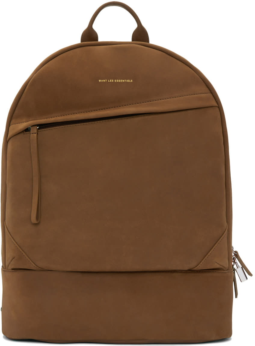 Want Les Essentiels Tan Suede Kastrup Backpack