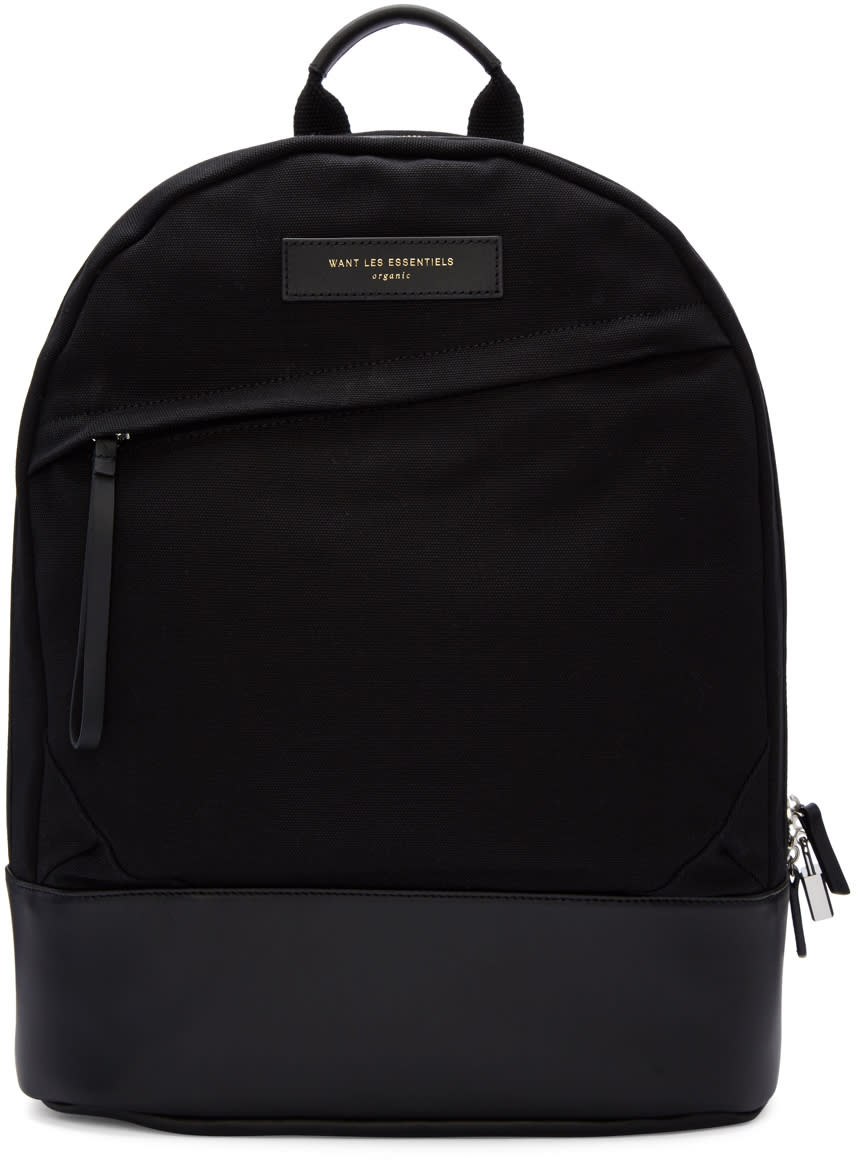 Want Les Essentiels Black Canvas Kastrup Backpack
