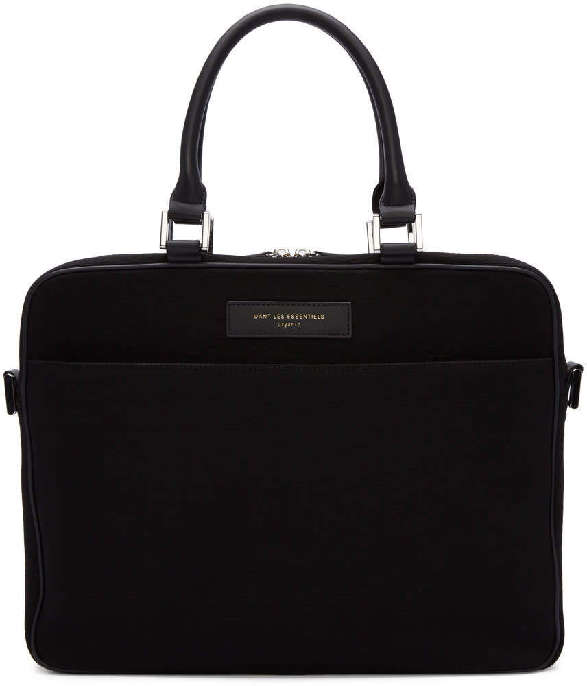 Want Les Essentiels Black Canvas Haneda Computer Bag