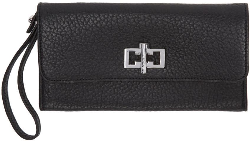 Carven Black Leather Clasp Wallet