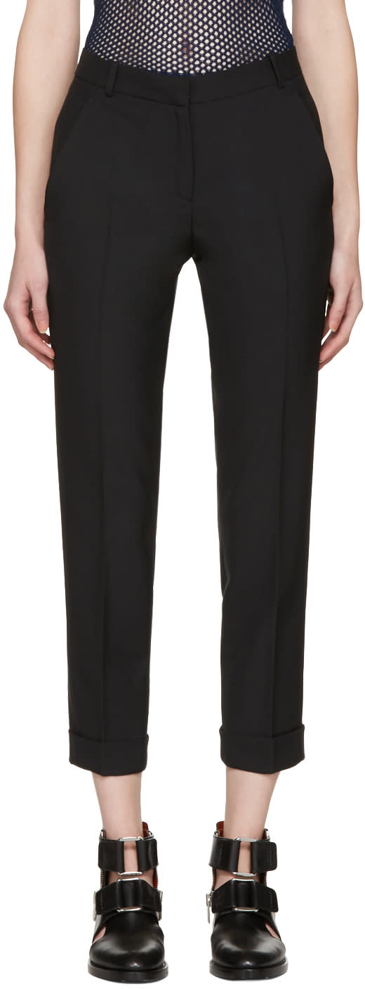 Image of Carven Black Cropped Cuffs Trousers
