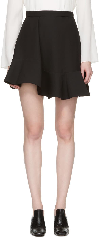 Carven Black Ruffled Miniskirt