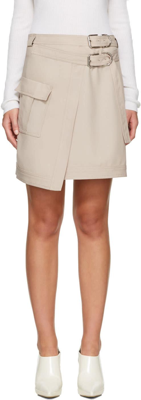 Carven Beige Asymmetric Pocket Miniskirt