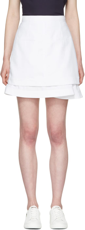Carven White Peplum Miniskirt