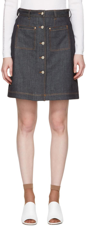 Carven Indigo Denim Button Miniskirt