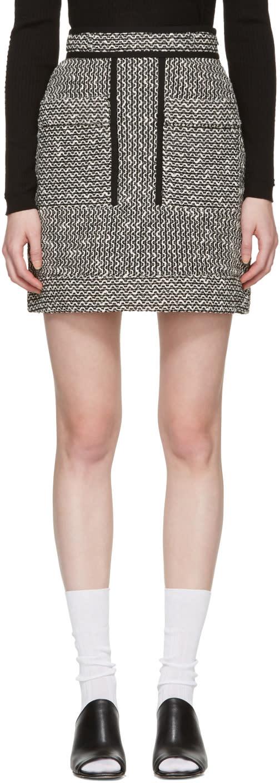Carven Black and White Jacquard Miniskirt