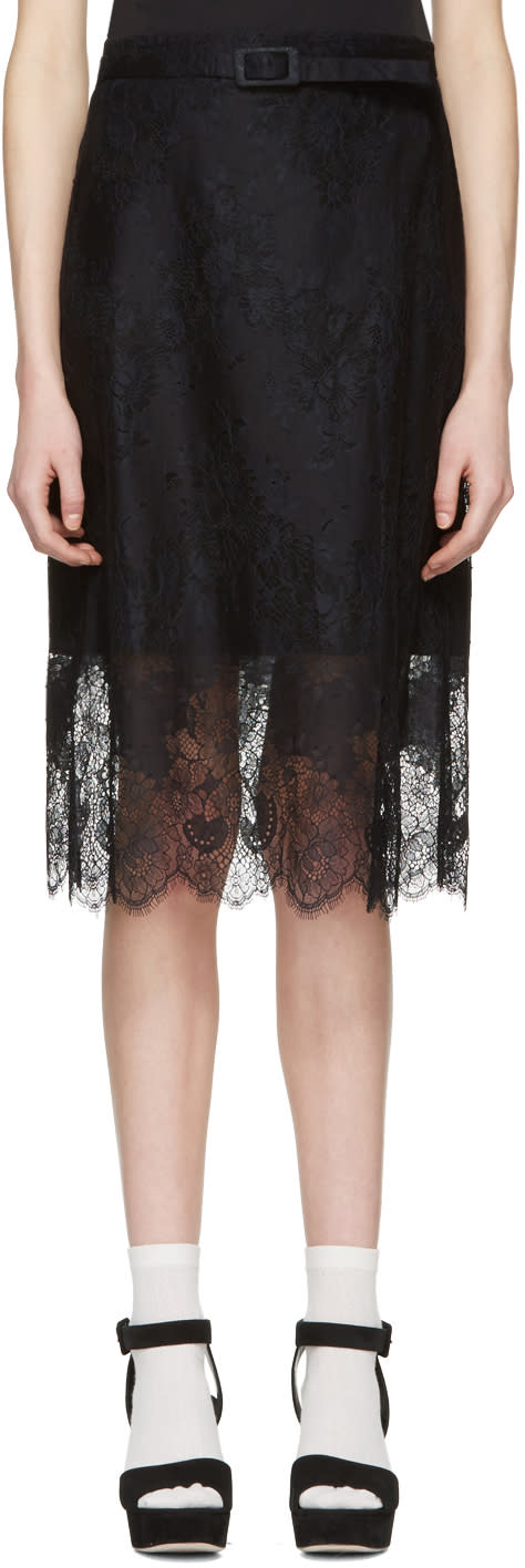 Image of Carven Black Belted Lace Dress