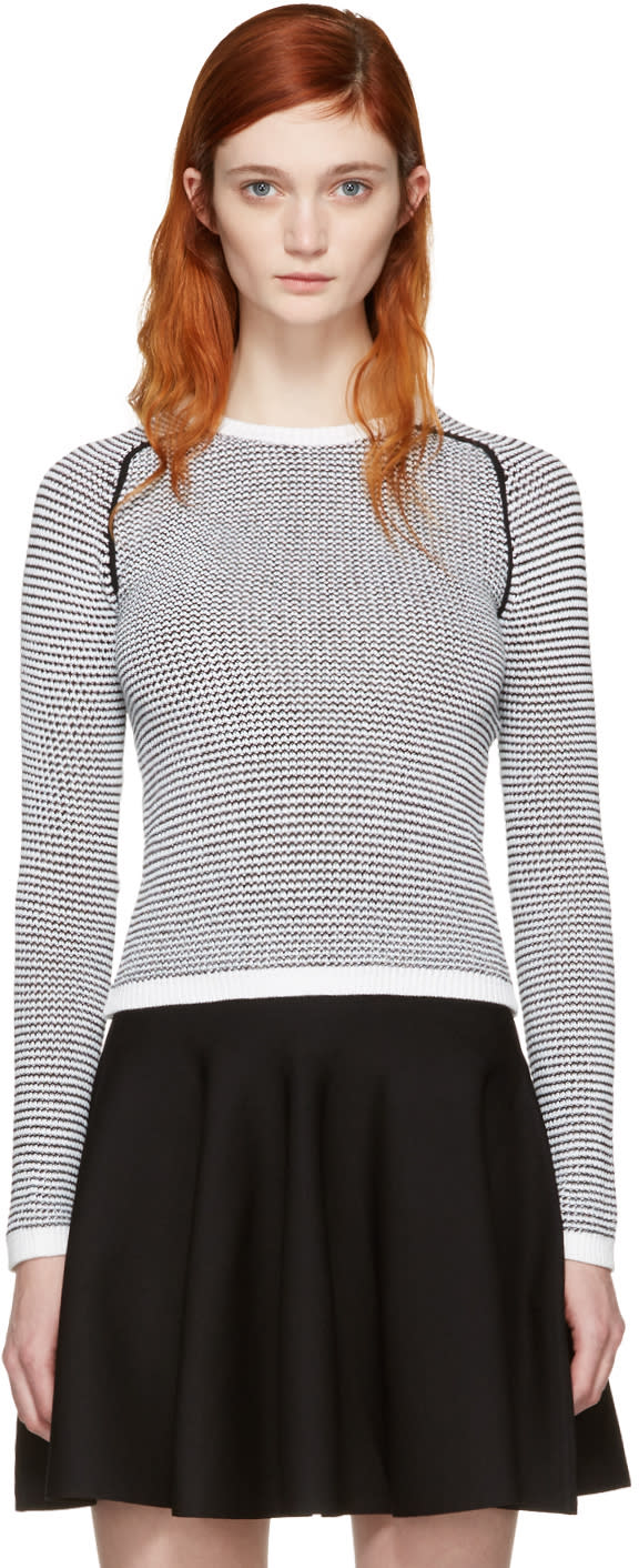Image of Carven Black and White Knit Sweater