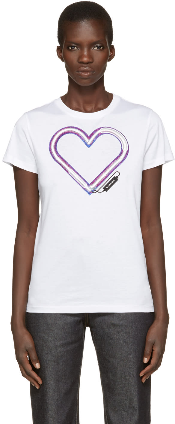 Carven White Neon Heart T-shirt