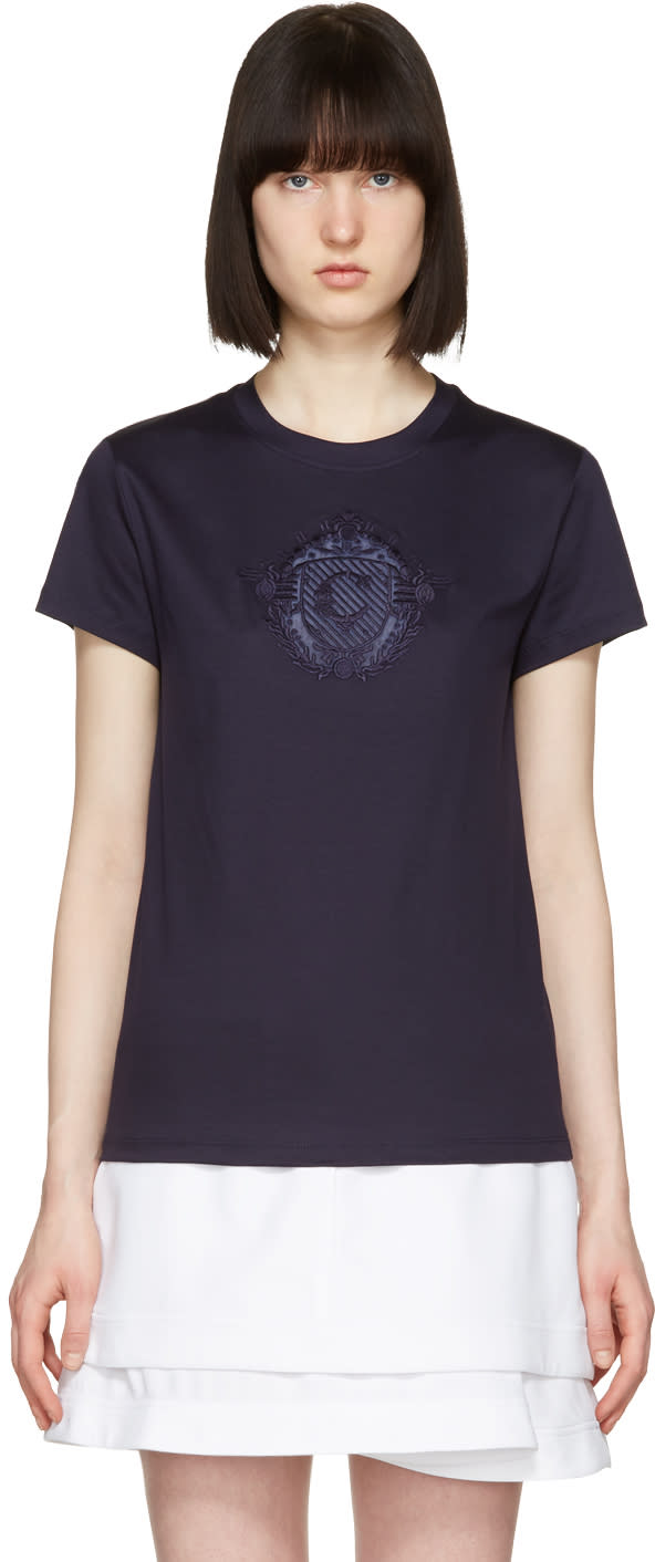 Carven Navy Sheer Logo T-shirt