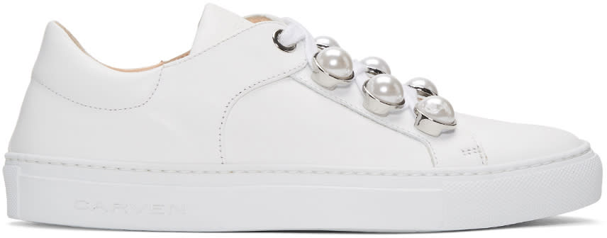 Carven White Pearl Button Sneakers