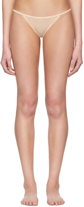 Image of Calvin Klein Underwear Beige Mesh String Thong