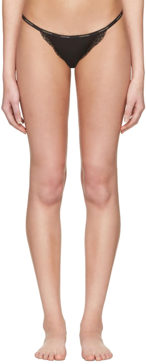 Image of Calvin Klein Underwear Black Mesh Lace String Thong