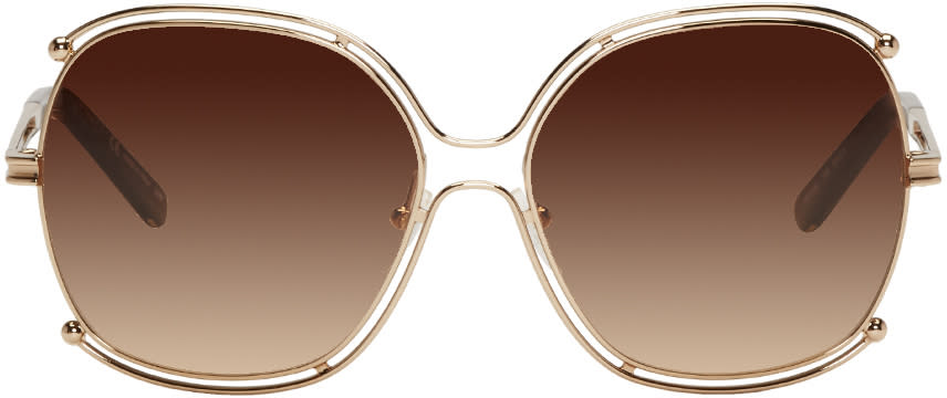 Chloe Rose Gold Round Sunglasses