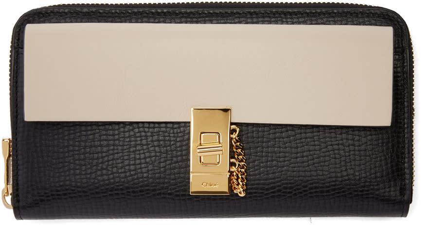 Chloe Black and Off-white Drew Zip Wallet
