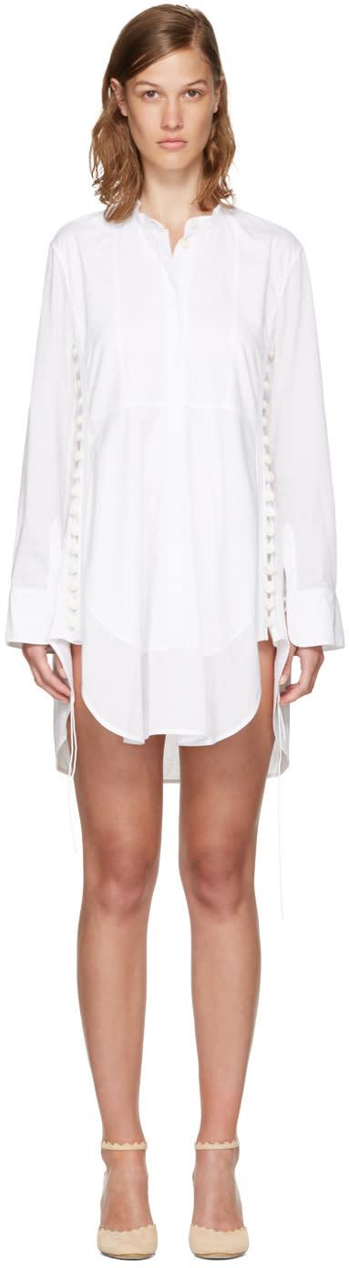Chloe White Cotton Button Dress