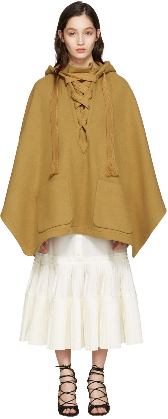 Chloe Brown Oversized Lace-up Poncho