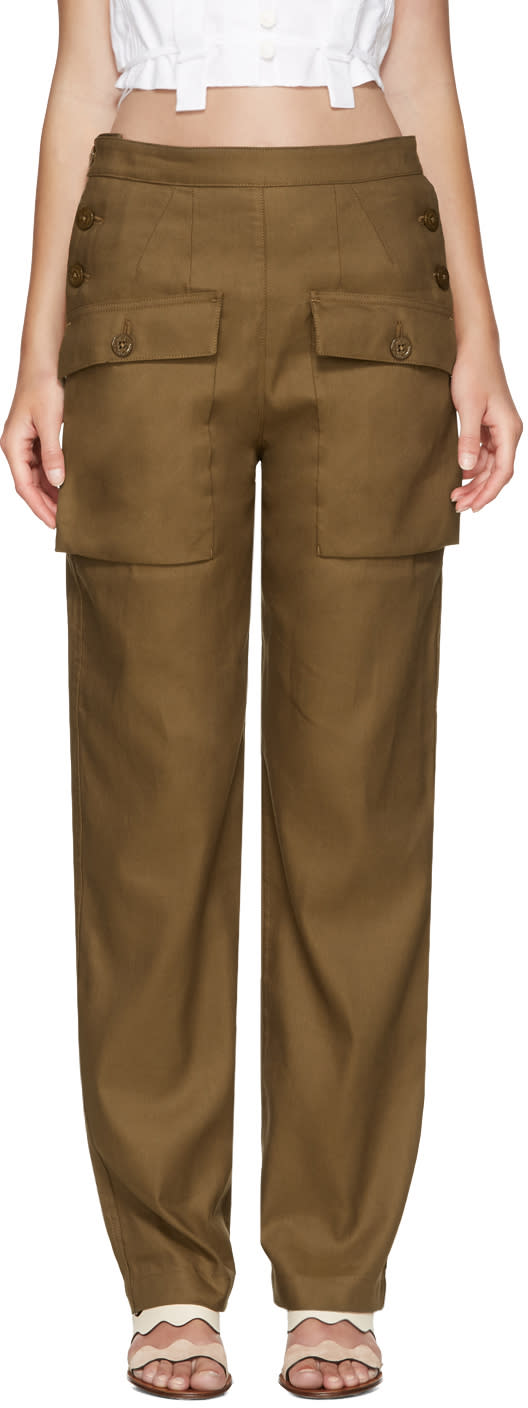 Chloe Brown Cargo Pockets Trousers