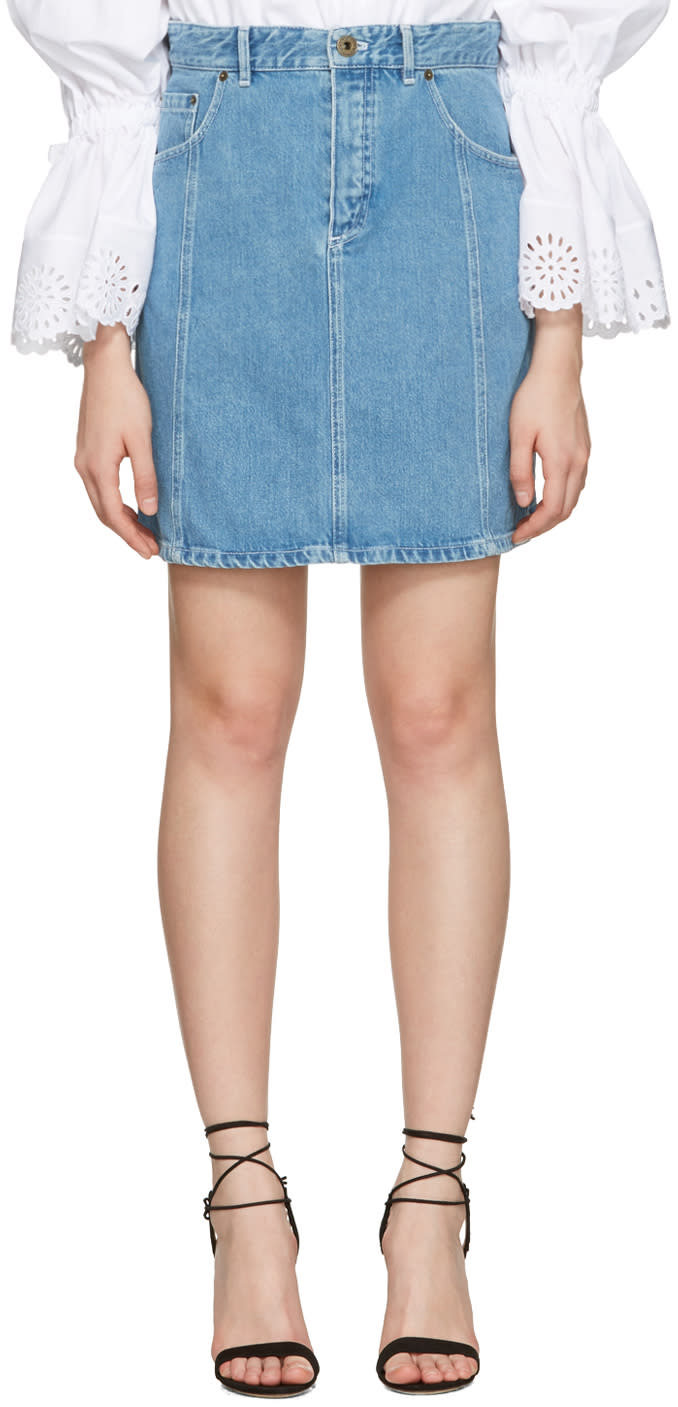 Chloe Blue Denim Scalloped Skirt