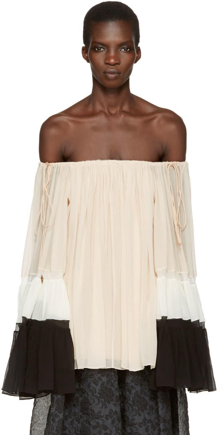 Chloe Tricolor Silk Off-the-shoulder Blouse