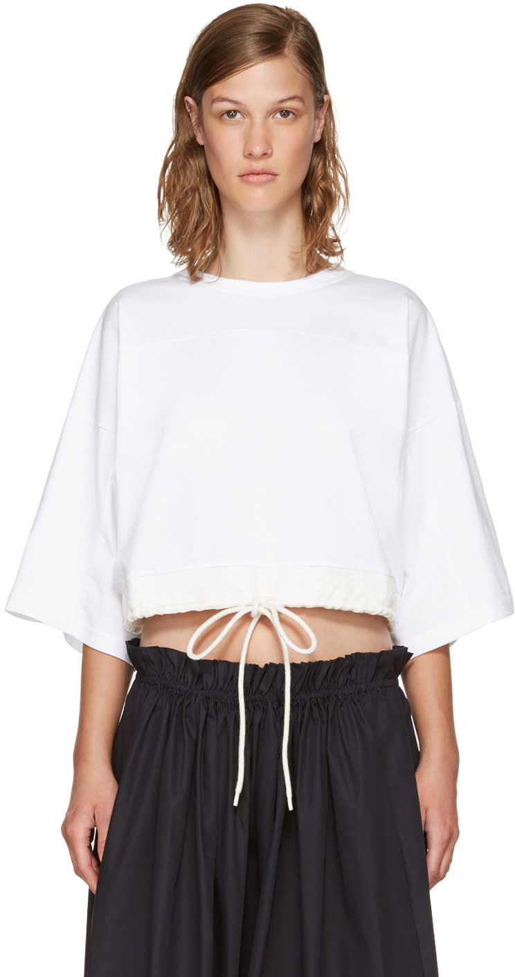 Chloé White Drawstring Cropped T-shirt