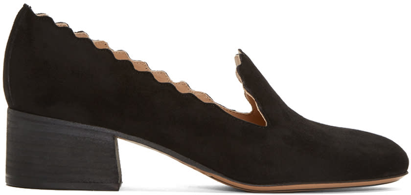 Chloe Black Suede Lauren Loafers