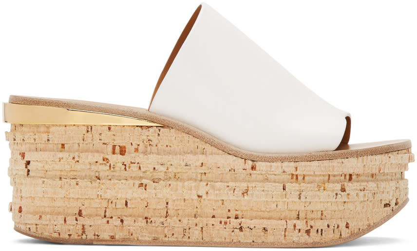 Chloe White Camille Wedge Mules
