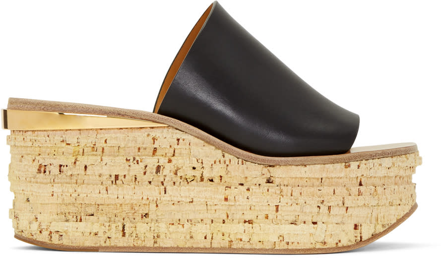 Chloe Black Camille Wedge Mules