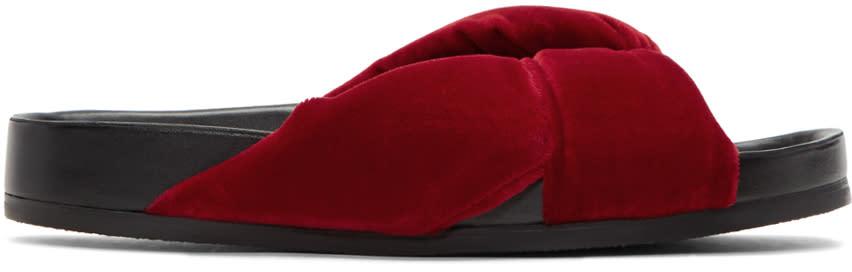 Chloe Red Velvet Nolan Slide Sandals