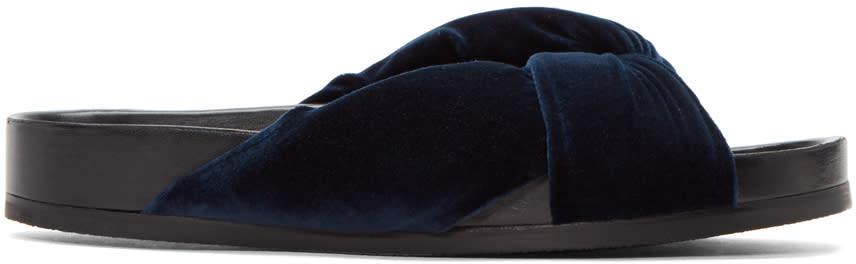 Chloe Blue Velvet Nolan Slide Sandals
