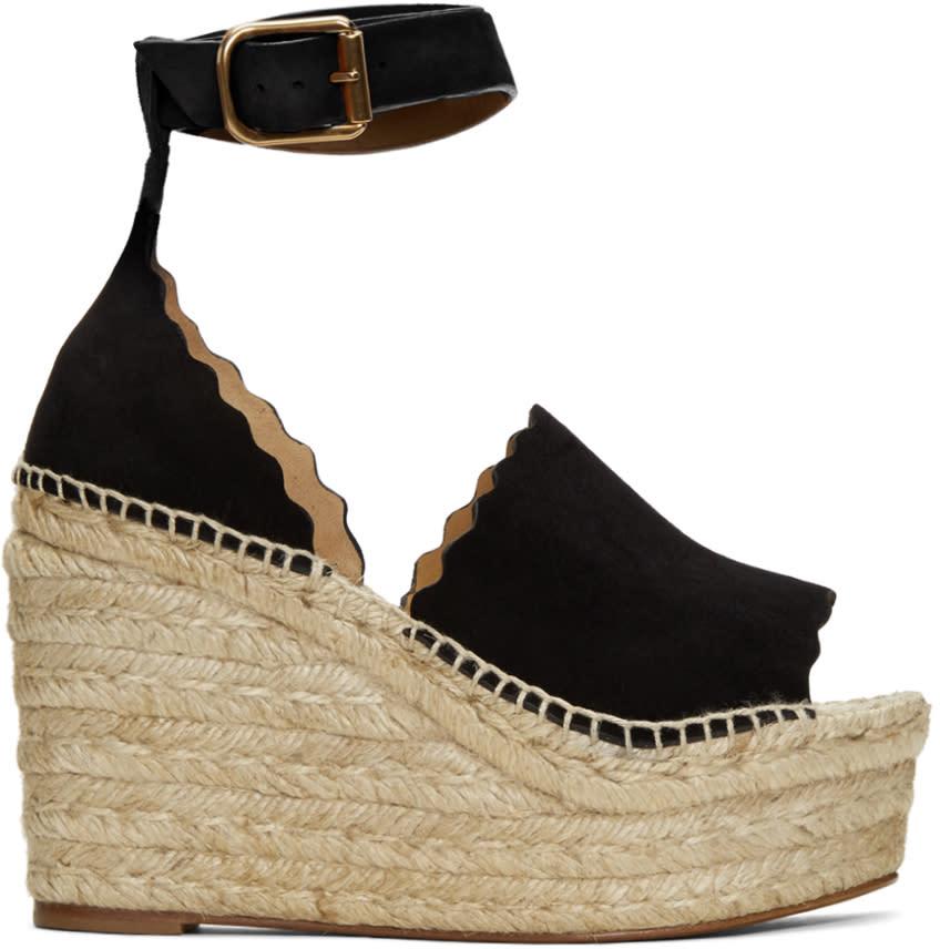 Chloe Black Suede Lauren Espadrille Wedge Sandals