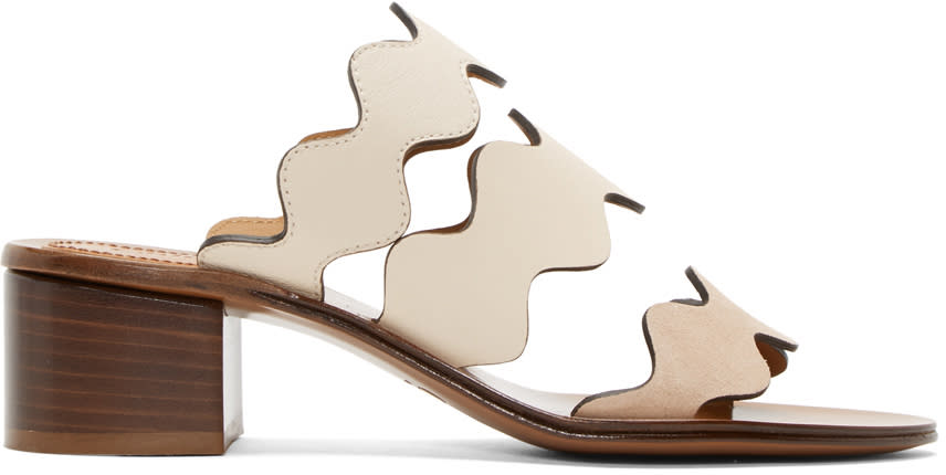 Chloe Ivory and Beige Lauren Heeled Sandals