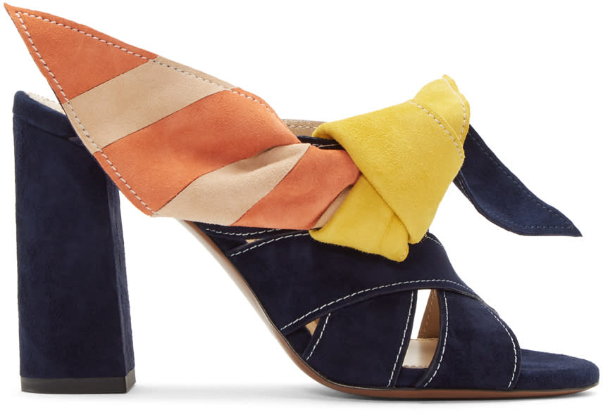 Chloe Navy and Multicolor Nellie Mules