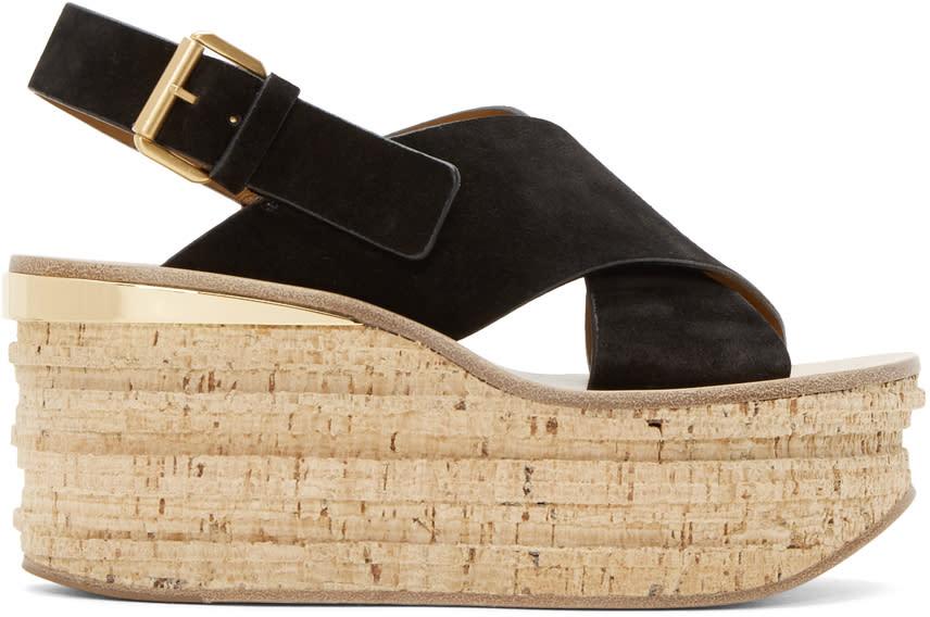 Chloe Black Camille Wedge Sandals