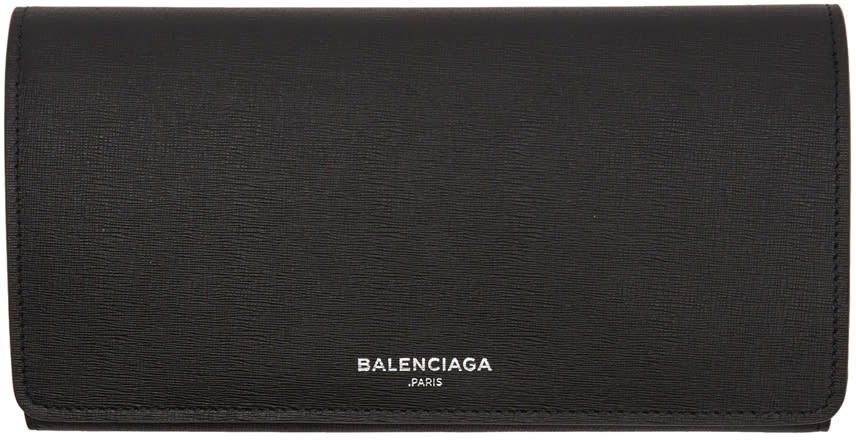 Balenciaga ブラック ロゴ コンチネンタル ウォレット