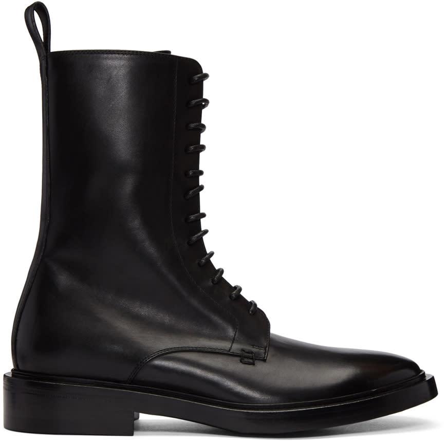 Balenciaga Black Lace-up Combat Boots