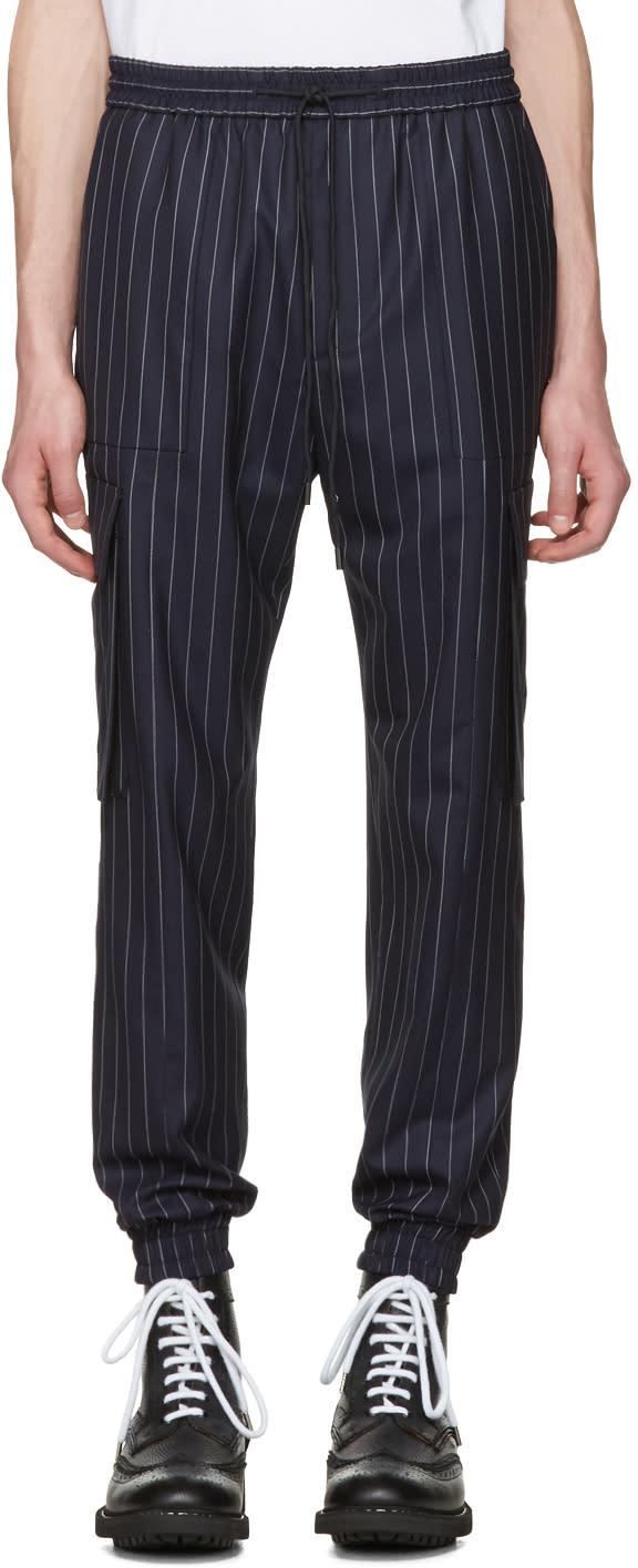 Juun.j Navy Pinstripe Cargo Trousers
