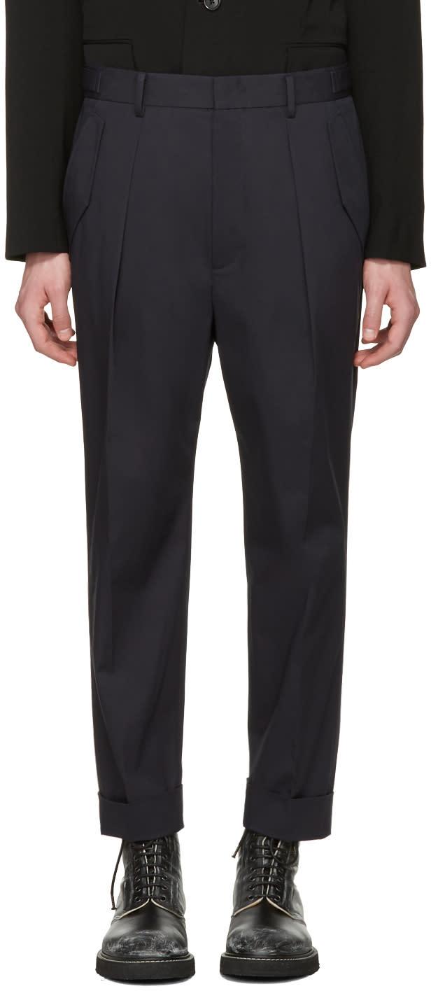 Juun.j Navy Pleated Trousers