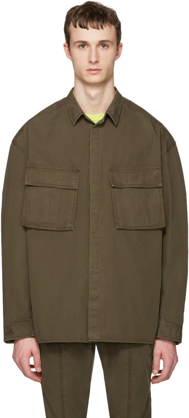 Juun.j Khaki Oversized Military Shirt