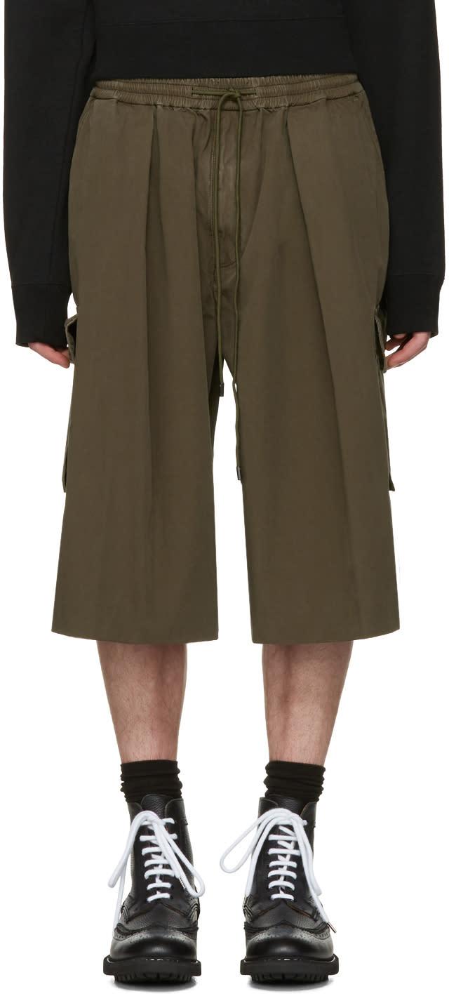 Juun.j Khaki Drawstring Cargo Shorts