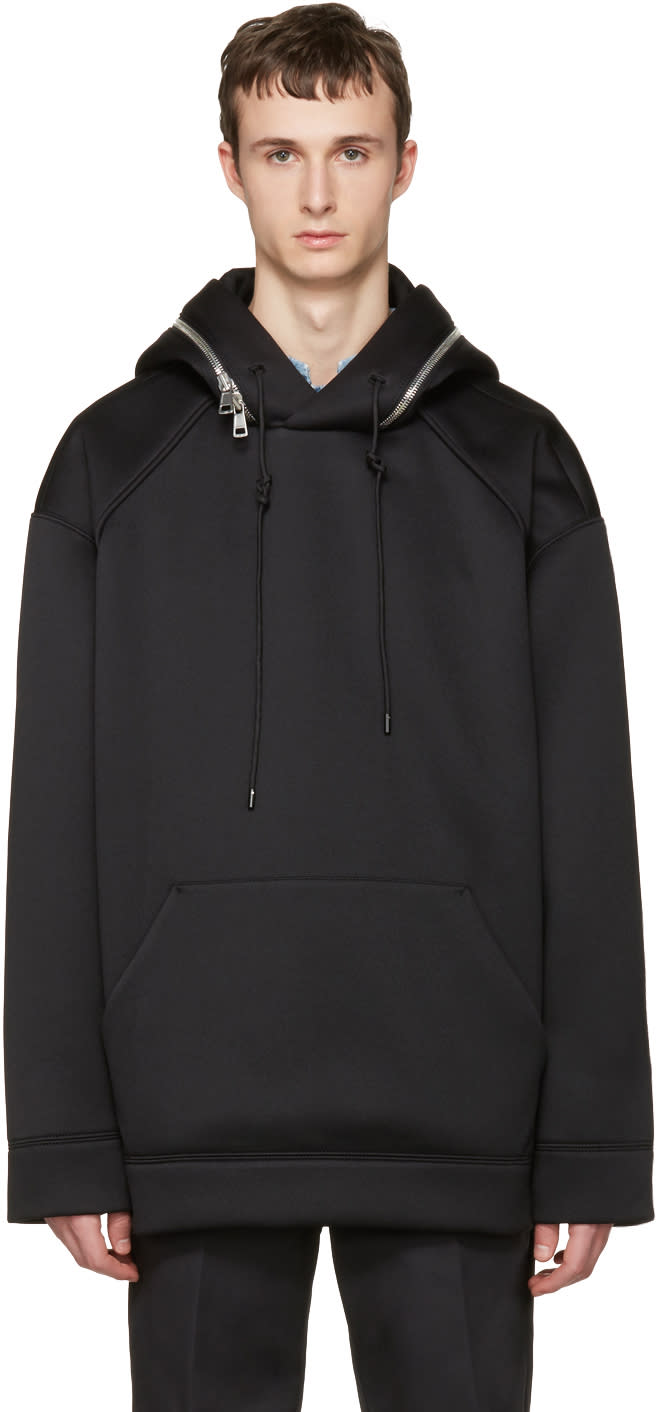 Juun.j Black Oversized Zip-around Hoodie
